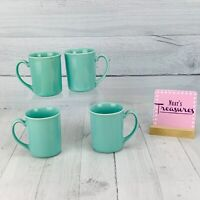 Vintage Corelle FOREVER YOURS  Solid Aqua Blue Green Stoneware Cups Mugs Set 4
