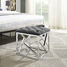 Contemporary Modern Tufted Velvet Geometric Metal Ottoman Bench in Silver Gray