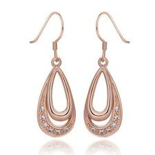 Water Drop Czech Rhinestone Dangle Earrings Jewelry Romantic Rose Gold Plated CG