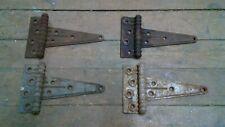 "Pair set 4 Stanley SW antique steel T Strap Barn Door Gate Hinges 7 3/4"" total L"