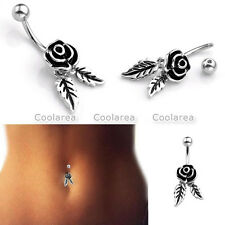 Retro Dangle Rose Flower Leaf Curved Bar Steel Piercing Belly Navel Button Rings