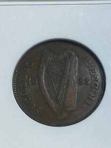 1933 Ireland 1/2 Penny Graded EF40 by ANACS!!
