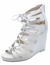 LADIES WHITE LACE-UP WEDGE GLADIATOR PLATFORM PEEP-TOE SANDALS SHOES SIZES 3-8