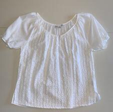 Women's Petite XL Short Sleeve Cotton Kim Rogers White Eyelet Casual Blouse