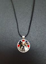 "Bulldog Union Jack Pendant On a 18"" Black Cord Necklace Ideal Birthday Gift N339"