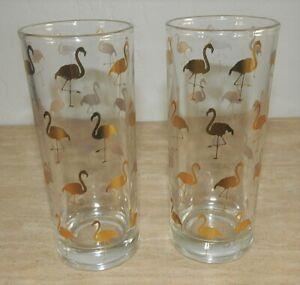 Williams Sonoma Gold Flamingo Highball Glasses Lot of 2 Heavy Glass EUC HTF