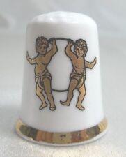 Vintage Collectible Souvenir Thimble GEMINI  FINSBIRY Fine Bone China Englad