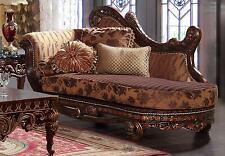 Homey Design HD-66 Luxury Cinnamon Finish Living Room Chaise Carved Wood