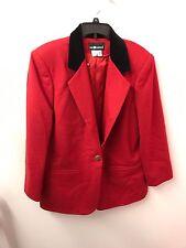 Sag Harbor Blazer 14 M L Red 100% Wool Satin Lining Black Collar Euc Lkn