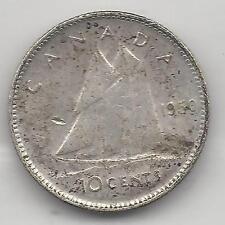 CANADA,  1950, 10 CENTS,  SILVER,  KM#43,  EXTRA FINE