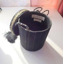Vtg Victor Costa Black w Stripes Fabric Hippie Boho Hand Purse Handbags Bag Box