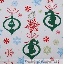 BonEful Fabric FQ Cotton Quilt White Green Red Blue Grinch Snowflake Xmas Candy