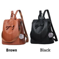 Womens Soft PU-Leather Shoulder Backpack Satchel Travel Bag With Fluffy Ball ILC