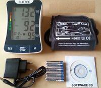Blutdruckmessgerät Oberarm 220 VOLT PC Langzeit Software Darstellung Batterie