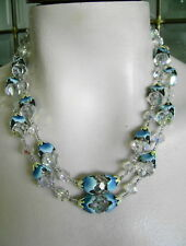 OLD RARE BLUE VENDOME SET HEAVY CRYSTAL ENAMEL LEAF BEAD CAPS NECKLACE EARRINGS