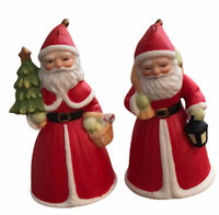 VINTAGE SILVESTRI GNOME SANTA CLAUS Bell Ornaments, Set of 2, Porcelain Bisque
