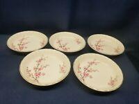 Vintage W.S. George Bolero PEACH BLOSSOM Set/5 Dessert Bowls 22 K Gold Rim B8619