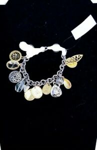 """NWT. Chicos Healing Crystals Charm Bracelet Magnetic closure gold & silver 7.5"""""""