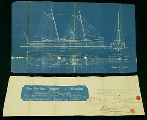 Antique 1891 Maritime Blueprint Plans Venezuelan Gun Boats Signed New York City
