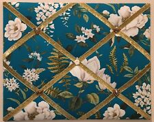 Waverly Magnolia Floral Memo Board Turquoise Fabric French Country Memo Board