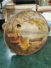 Ancien petit Tambourin avec splendide peinture signée décors femme