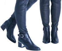 NEW STYLE WOMENS LADIES OVER THE KNEE HIGH LONG PULL ON MID HEEL BOOTS SHOES