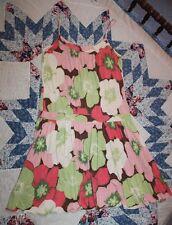 Jungal Floral Dress, Sz 8, Green, Coral, Pink Sundress, Spun Silk, Soft