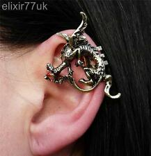 NEW GOLD DRAGON EAR CUFF CLIP WRAP LURE RED CRYSTAL EARRING GOTHIC PUNK GIFT UK