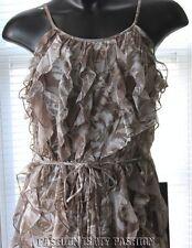 NEW YORK & CO. cascade ruffle front spaghetti strap knee length dress M NEW #545