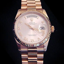 Rolex Day-Date President Watch Mens 18k Everose Gold Rose Roman New Style 118235
