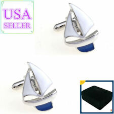 Hot Sale Men Cufflinks White & Blue Yacht Sailing Cuff Links With Gift Box