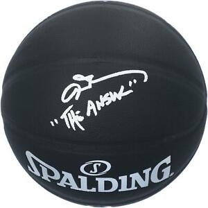 """Allen Iverson 76ers Signed Black Indoor/Outdoor Basketball & """"The Answer"""" Insc"""