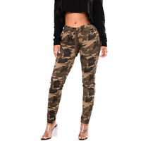 Women Camouflage Trousers High Waist Drawstring Pockets Slim Casual Sports Pants