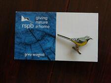 RSPB GNaH  grey wagtail Metal Pin Badge on Blue FR Card
