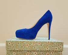 New Brian Atwood Maniac Suede Leather Platform Pumps, Blue, Size 37