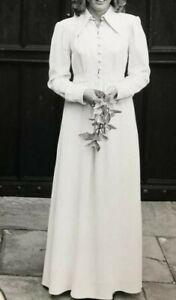 Vintage 1970's Ossie Clark moss crepe cream dress size 14