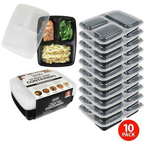 3 Compartment BPA Free Plastic Meal Prep Food Containers Lunch Box Lids