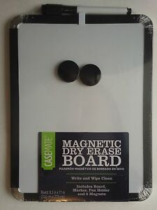 """MAGNETIC DRY ERASE BOARD W 2  MAGNETS & MARKER 8.5"""" x 11"""" SELECT: Color of Trim"""