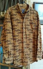 Woolrich Fly Fishing Shirt Brown Trout Sportsman Outdoor Heavy Flannel Feel XLT