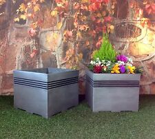 PACK OF 2 Square Milan 40cm Garden Planters Pewter / patio flower pot tree large