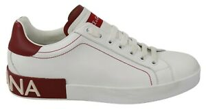 DOLCE & GABBANA Shoes Sneakers White Leather Red Logo Mens Casual s. EU39 / US6