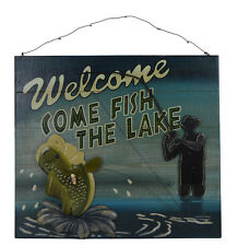 """18""""L Welcome Come Fish the Lake Wooden Wall Sign Nautical Fishing Square Decor"""