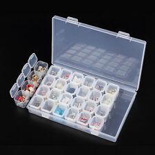 Empty 28 Jars Slots Nail Art Storage Box Case Tips Jewelry Organizer Beads Tools