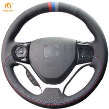 Black Genuine Leather Steering Wheel Cover for Honda Civic 9 2012-2015 #BT68