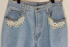MOM Jeans 13-14 Womens Whooz Blooz Light Blue Studs Lace Trim Front Pockets