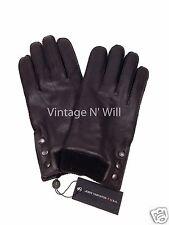 John Varvatos Star U.S.A. Mens L Brown Leather Metal Logo Snap-Wrist Gloves 2743
