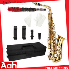 Alto Eb Saxophone Sax Gold Hand Engraved Bell Decoration w/ Case Accessories