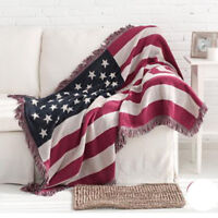 US Flag Full Cotton Floral Fringed Blanket Tapestry Throw Sofa Cover Chair Cover