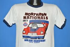 vintage 70s NORTHERN NATIONALS IHRA MILAN DRAGWAY MICHIGAN 1977 t-shirt SMALL S