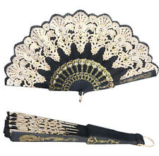 Folding Black Wedding Lace Hand Held Silk Spanish Style Flower Dance Party Fans